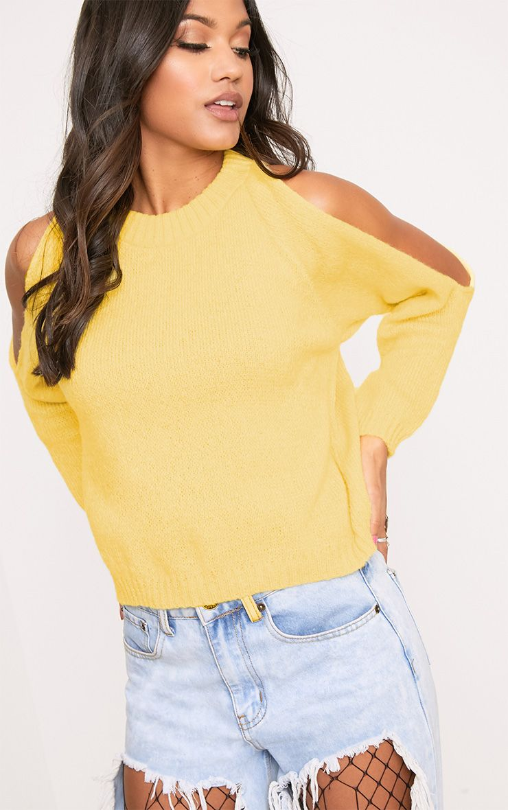 Aingeal Yellow Cropped Cold Shoulder Knitted Jumper