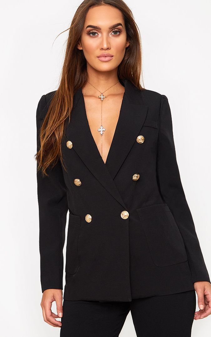 Pari Black Double Breasted Military Style Blazer
