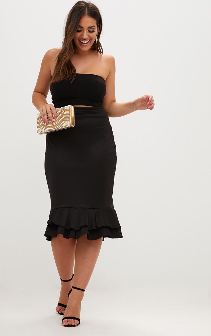jupe mi longue noire ourlet volant plus plus. Black Bedroom Furniture Sets. Home Design Ideas