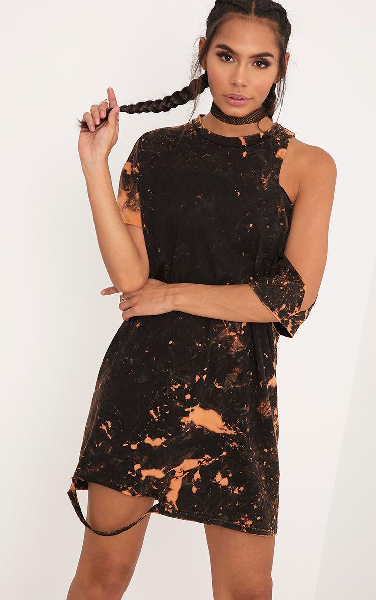 Ranar Black Tie Dye Cut Out T Shirt Dress