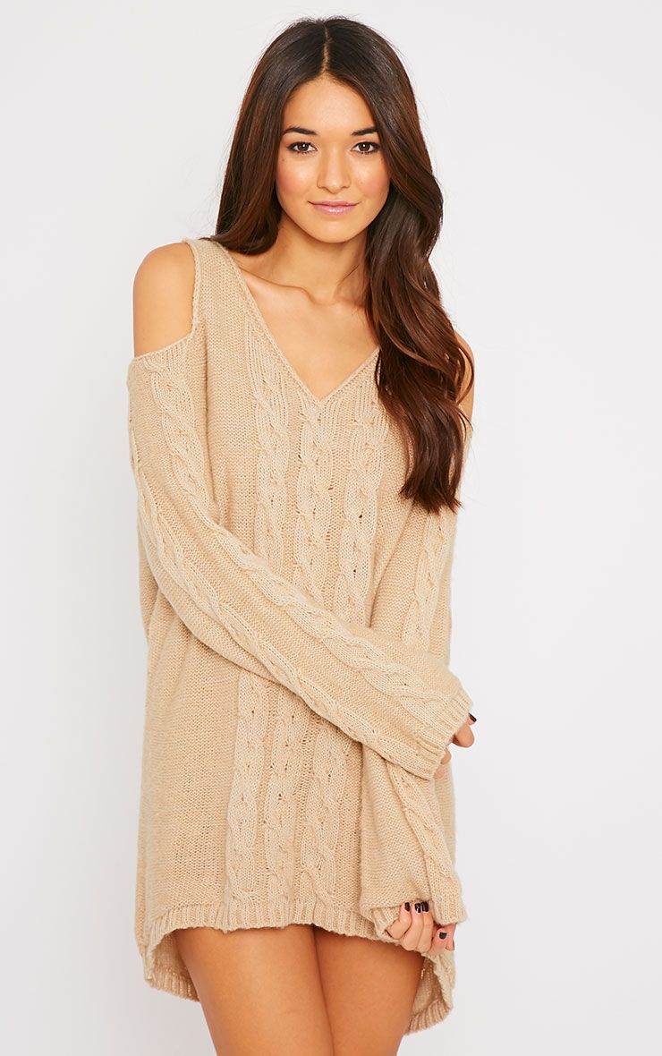 Clarisse Beige Cut Out Shoulder Jumper  1