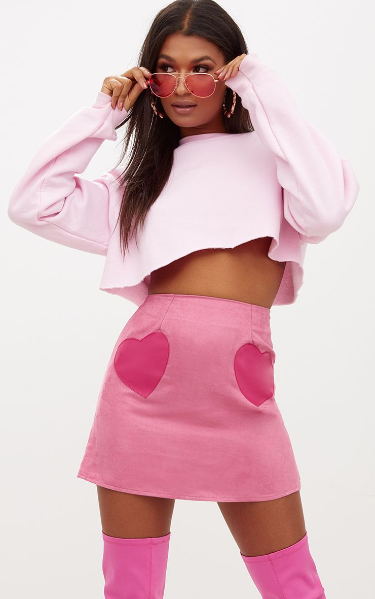 Dusty Pink Faux Suede Heart Patch A Line Mini Skirt