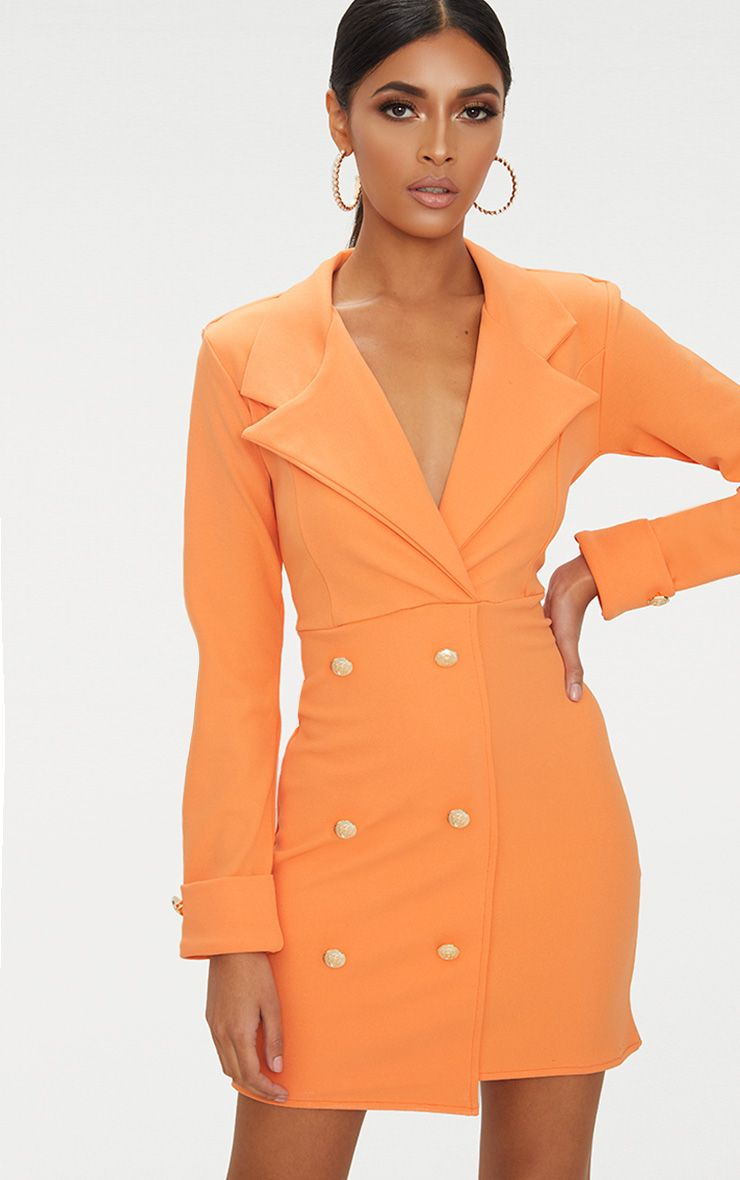 Tangerine Gold Button Detail Blazer Dress
