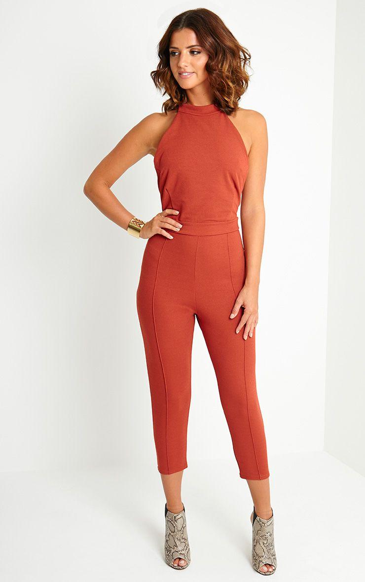 Nicki Rust Backless Jumpsuit 1
