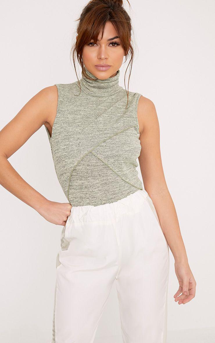 Alya Khaki Jersey Marl Wrap Roll Neck Thong Bodysuit