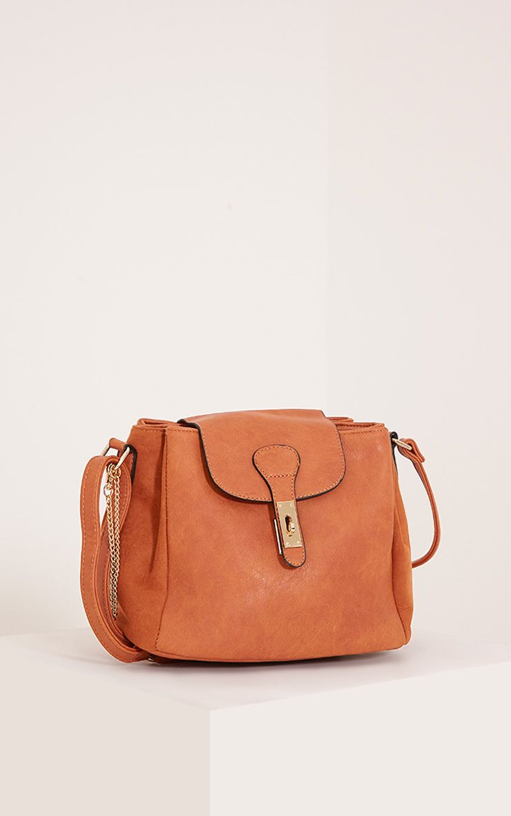 Vara Tan Faux Leather Chain Detail Shoulder Bag Brown