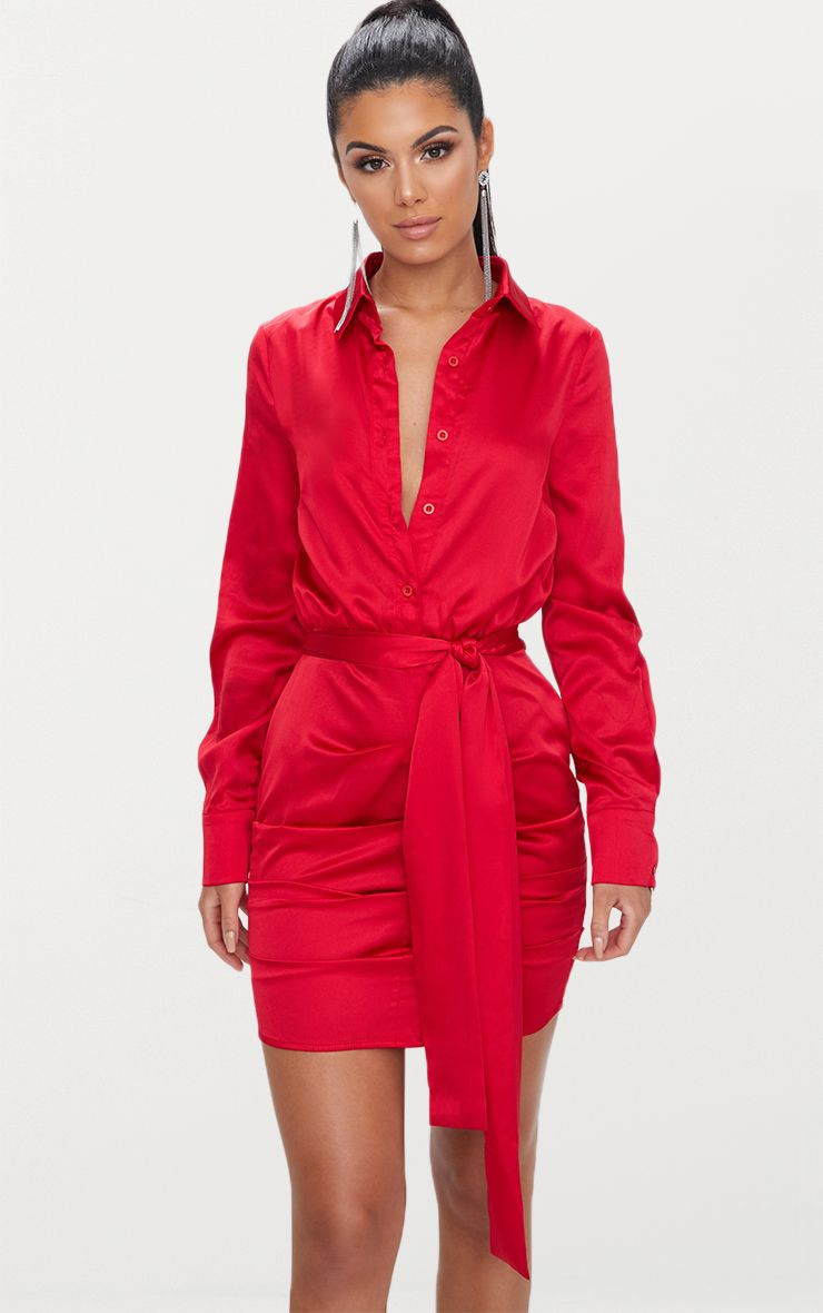 Red Ruched Front Shirt Dress