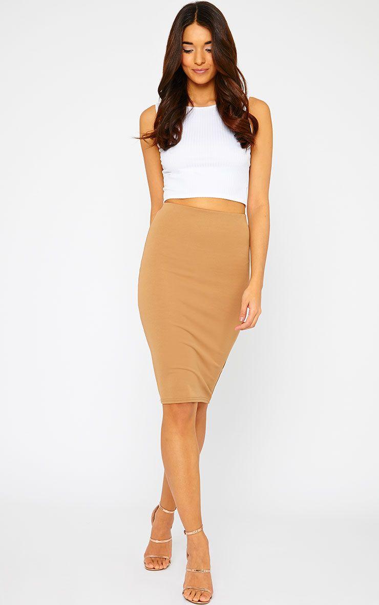 Winnie Mocha Scuba Midi Skirt 1