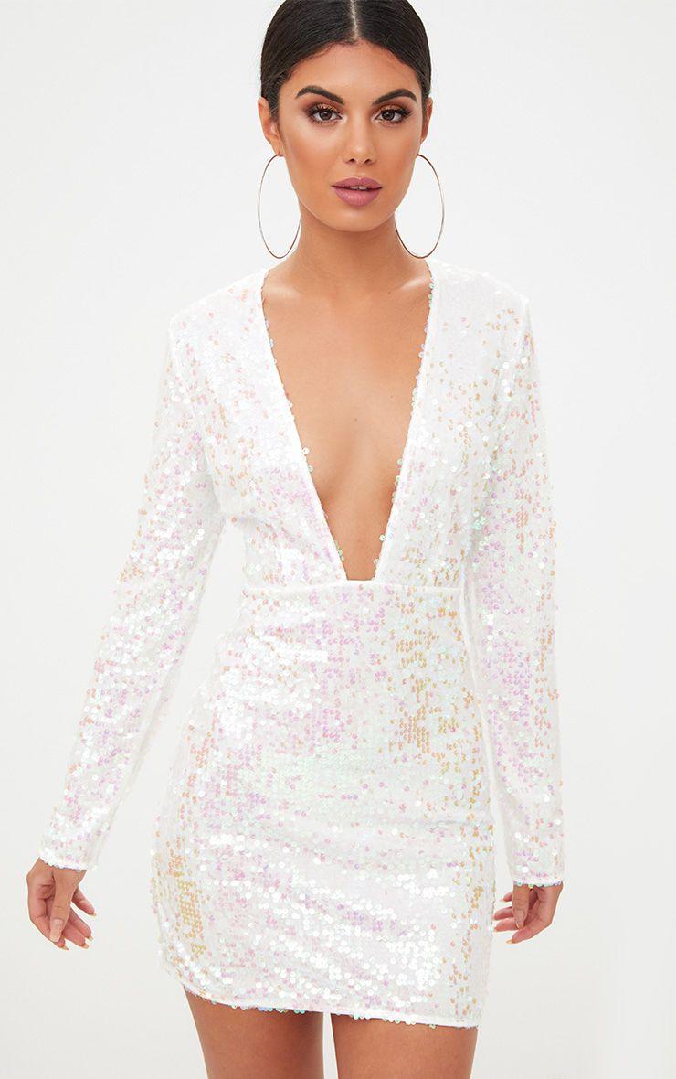 White Plunge Sequin Bodycon Dress