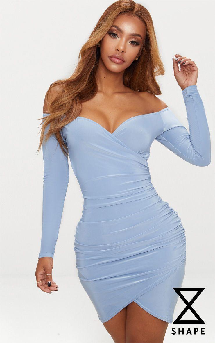 14801f2eb930 PRETTYLITTLETHING. SHAPE DUSKY BLUE SLINKY RUCHED DETAIL BARDOT DRESS