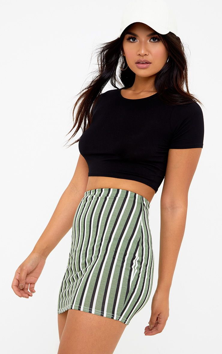 Khaki Jersey Stripe Mini Skirt