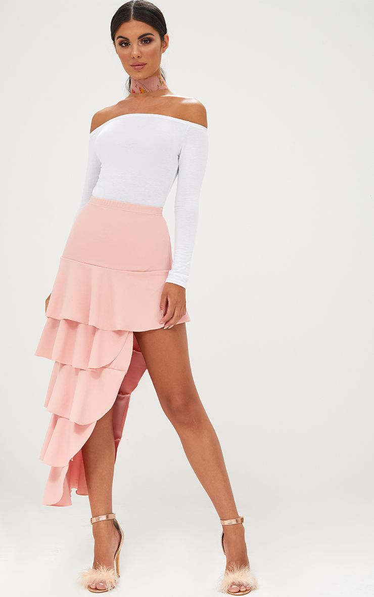 Baby Pink Tiered Split Maxi Skirt