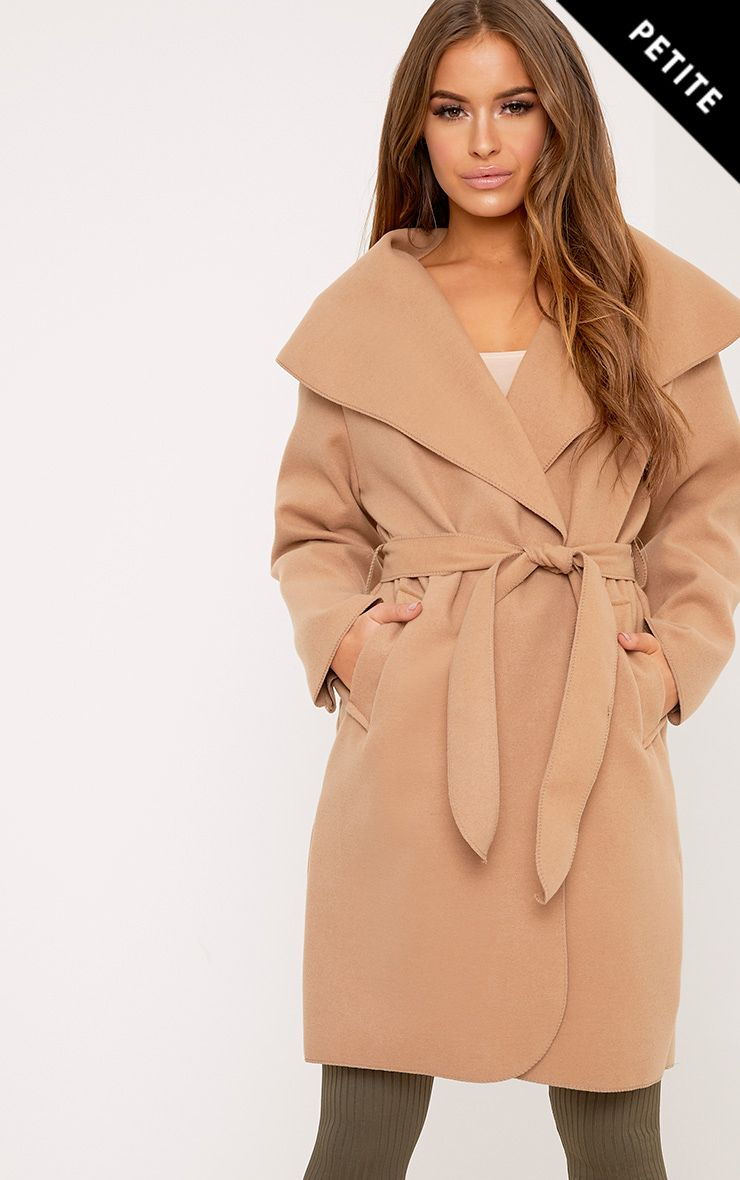 Petite Veronica Camel Oversized Waterfall Belt Coat