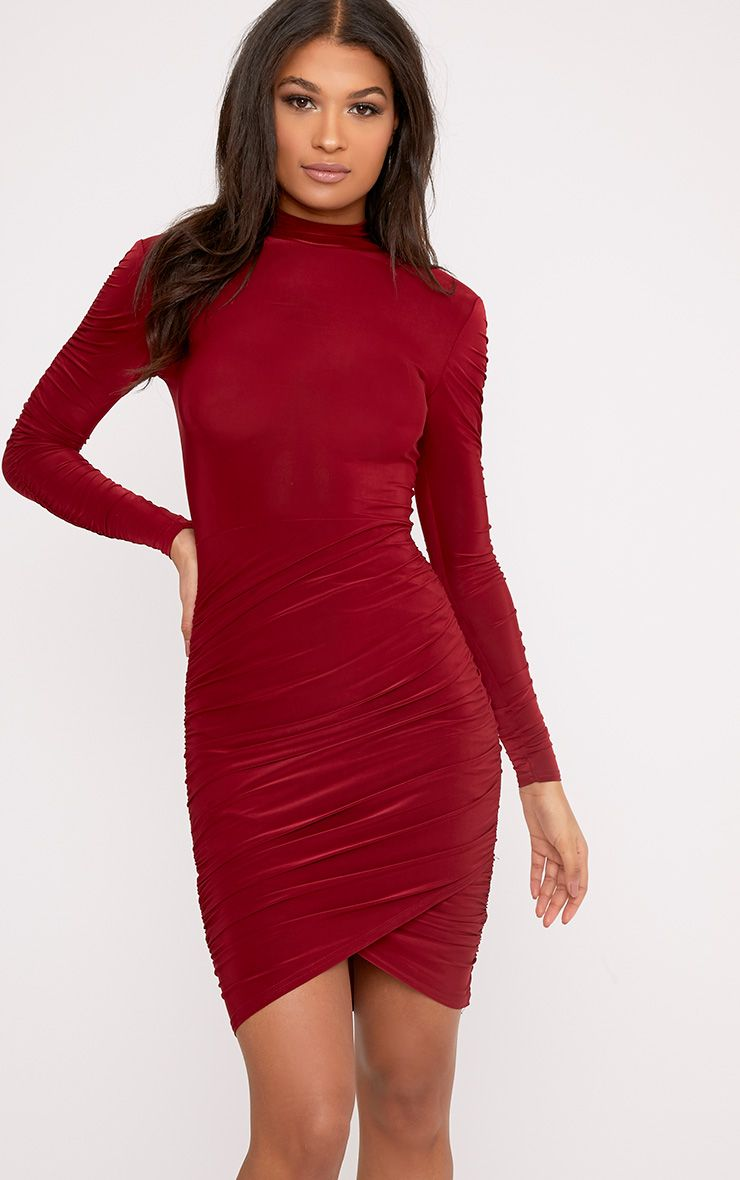 Sinitah Burgundy Long Sleeve Ruched Bodycon Dress