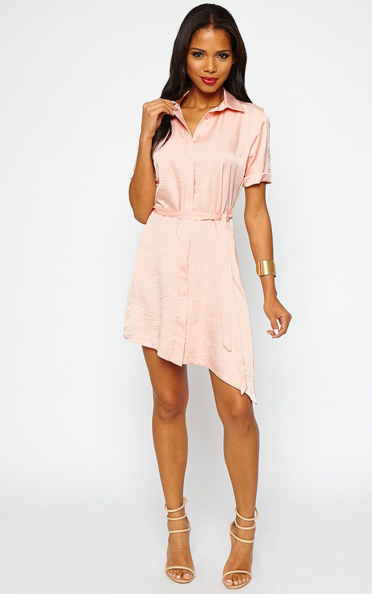 Leigha Nude Silky Shirt Dress 1