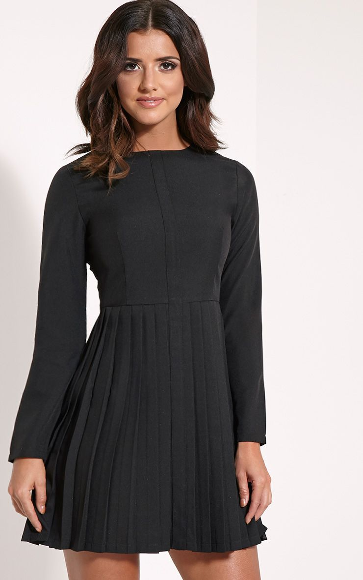 Kay Black Pleated Long Sleeve Mini Dress 1