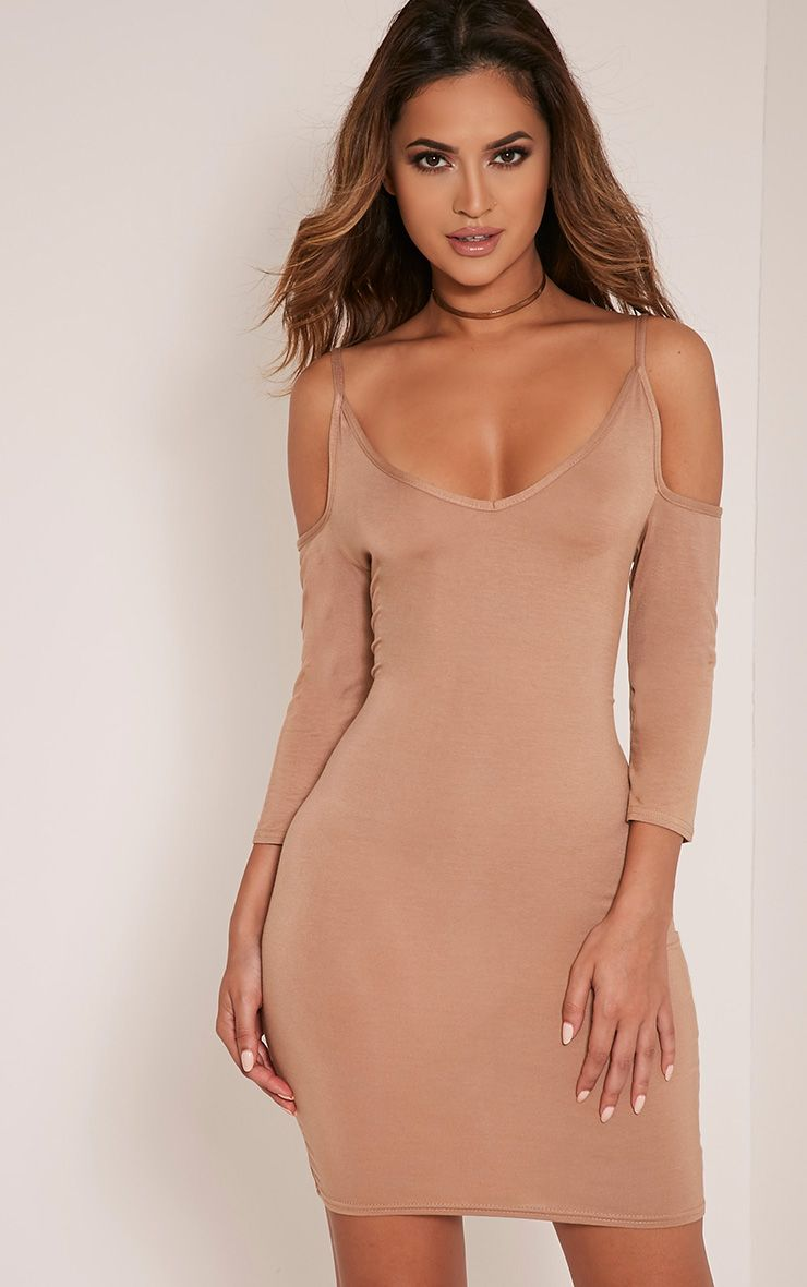 Kaleah Camel Cold Shoulder Bodycon Dress 1