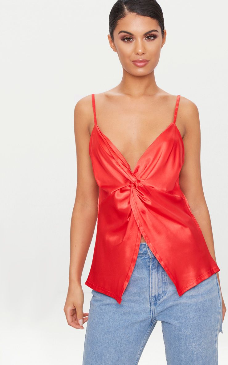 Red Satin Twist Front Cami Top