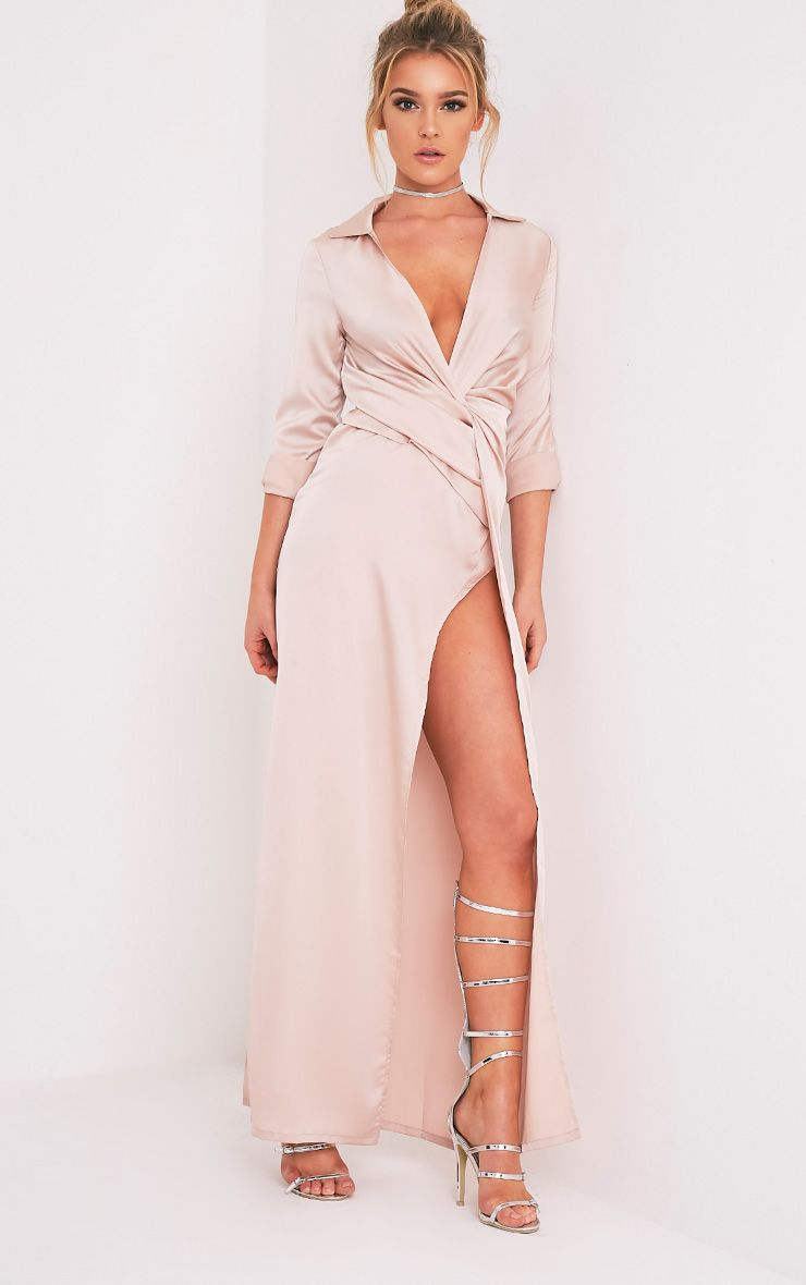 Alyssia Champagne Twist Front Maxi Shirt Dress