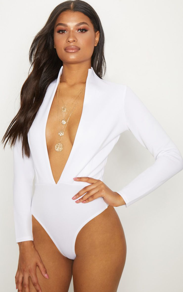 White Scuba High Neck Plunge Thong Bodysuit