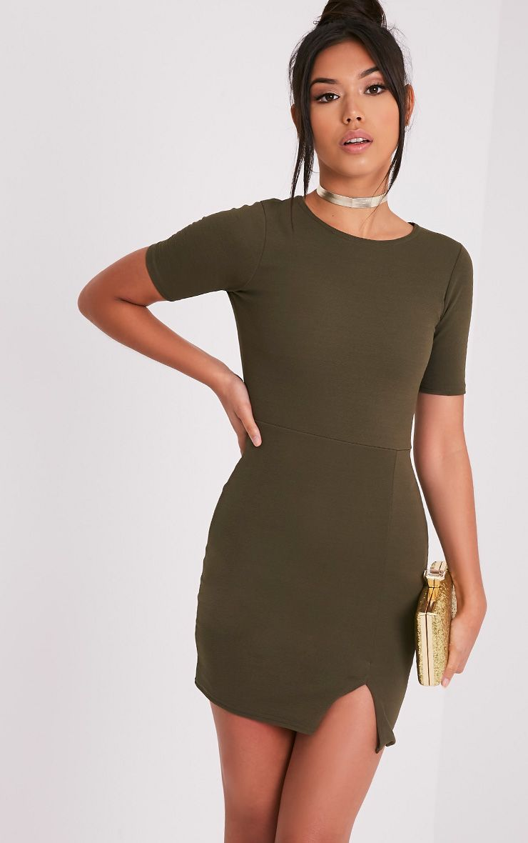Freya Khaki Split Detail Capped Sleeve Bodycon Dress