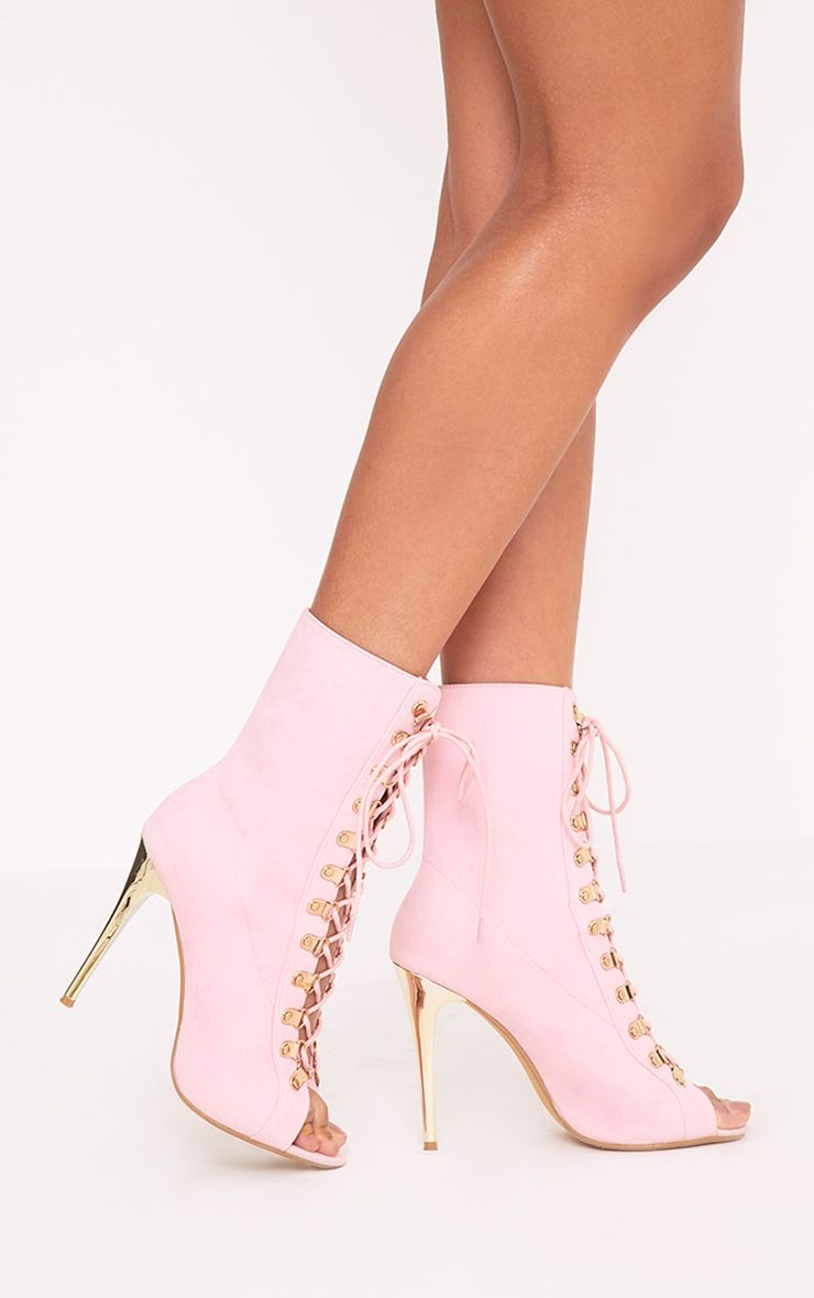Elina Pink Lace Up Ankle Boots 1