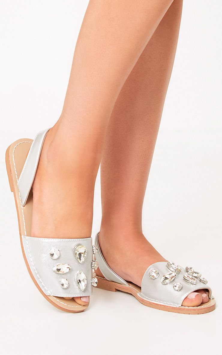 Cecile Silver Jewelled Espadrilles