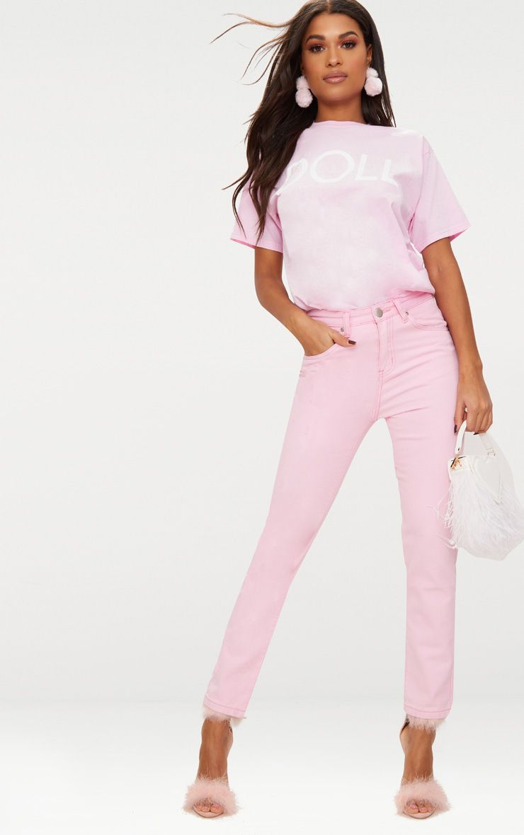 Pink Pastel Mom Jeans