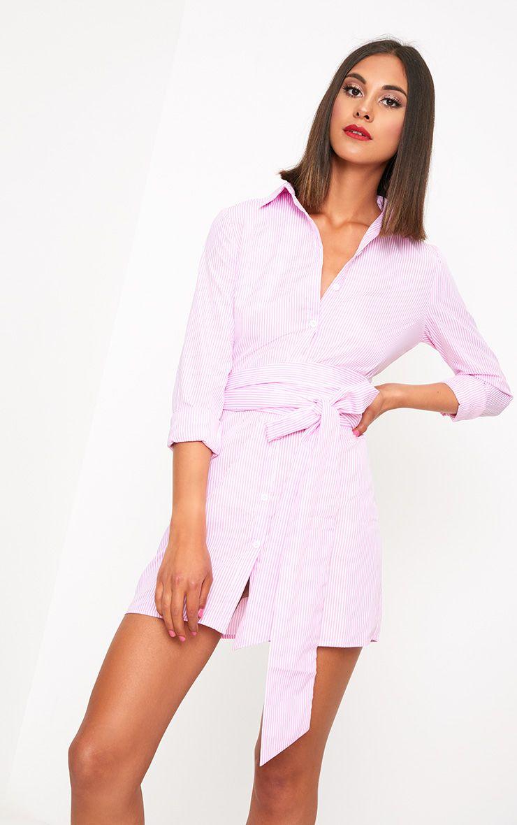 Pink Pinstripe Tie Waist Shirt Dress