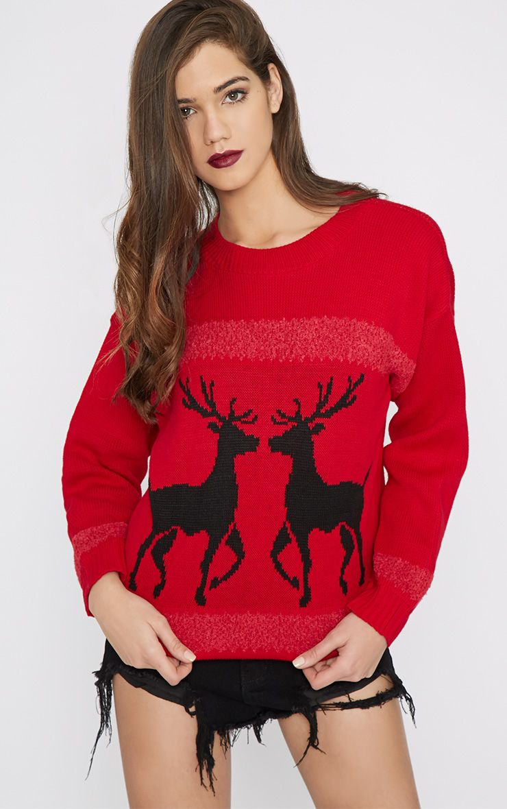 Nicola Red & Black Reindeer Jumper-One Size 1
