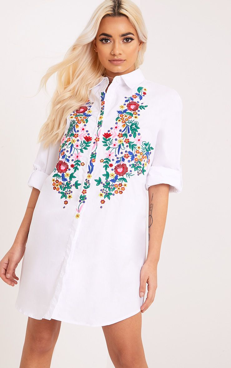 Emmillia White Floral Embroidered Shirt Dress