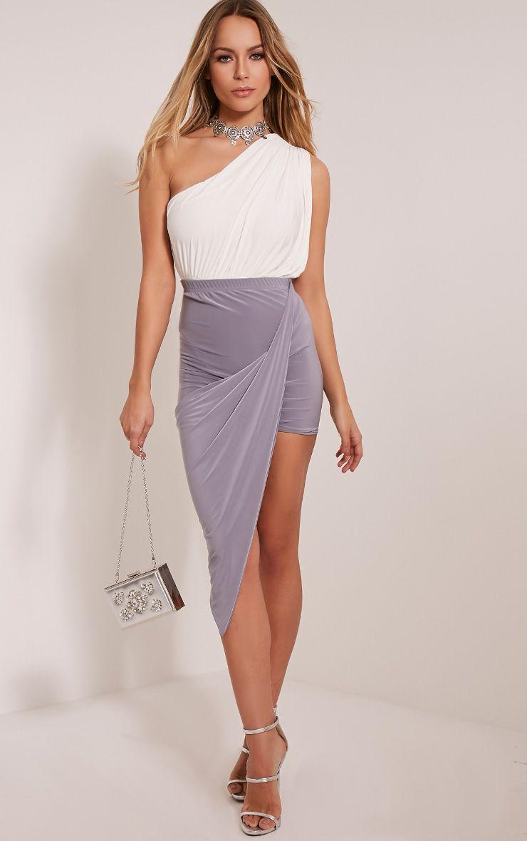 Alba Grey Slinky Drape Skirt 1