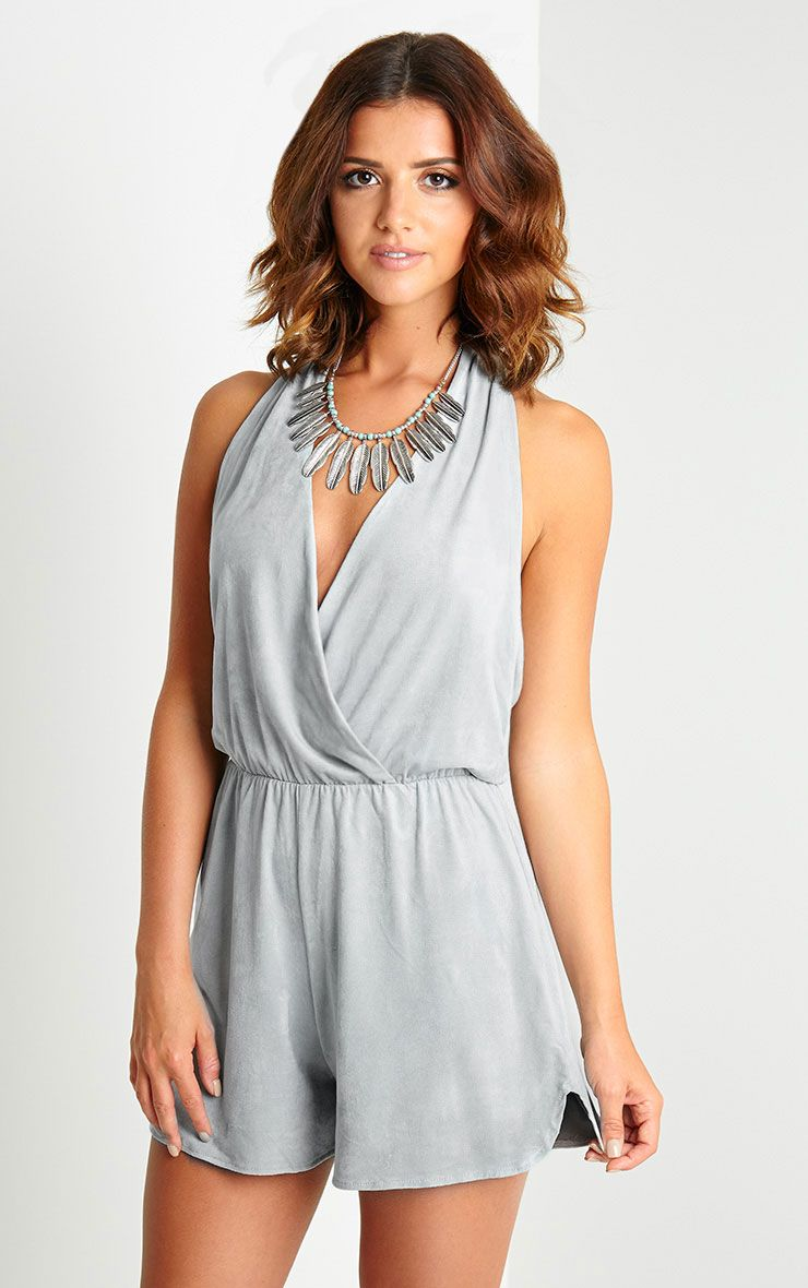 Paris Grey Suede Halter Neck Playsuit 1