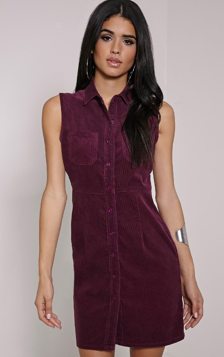 Ritta Plum Button Front Cord Dress 1