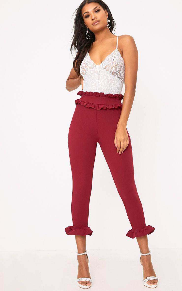 Burgundy Keren Frill Hem Trousers