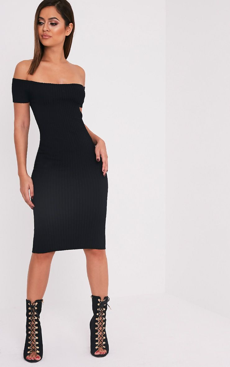 Erin Black Bardot Ribbed Knited Midi Dress 1