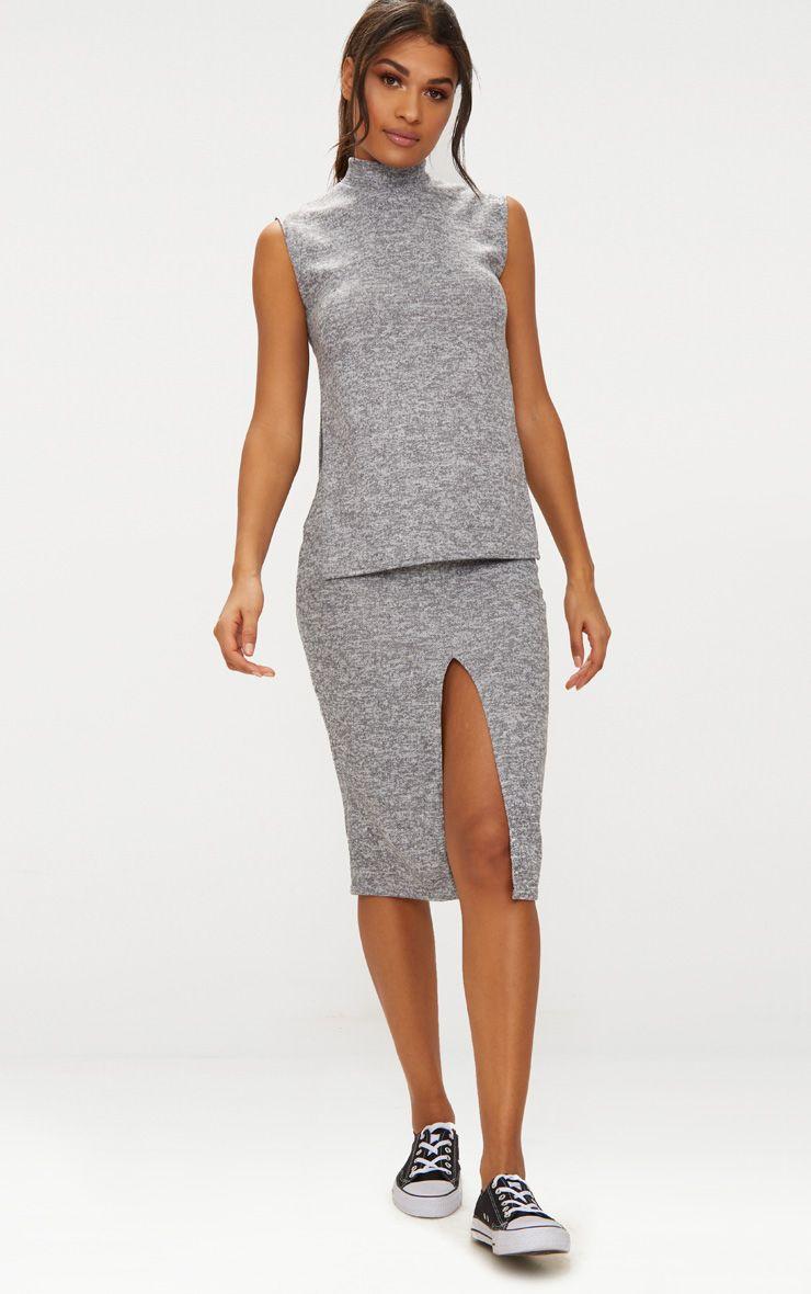 Grey High Neck Co ord Skirt Set