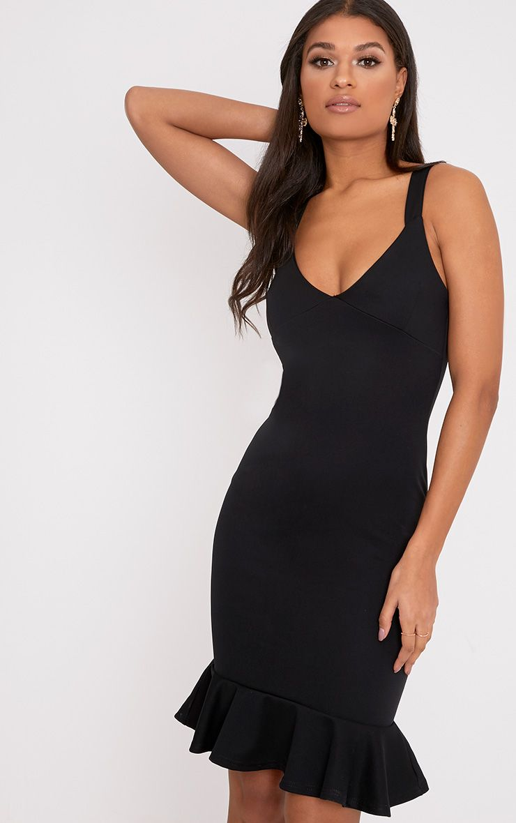 Mikaela Black Plunge Frill Hem Midi Dress
