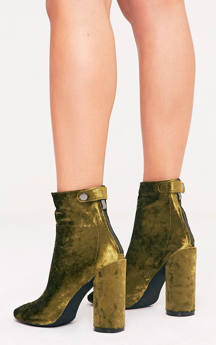 Amie Olive Velvet Heeled Ankle Boots 4