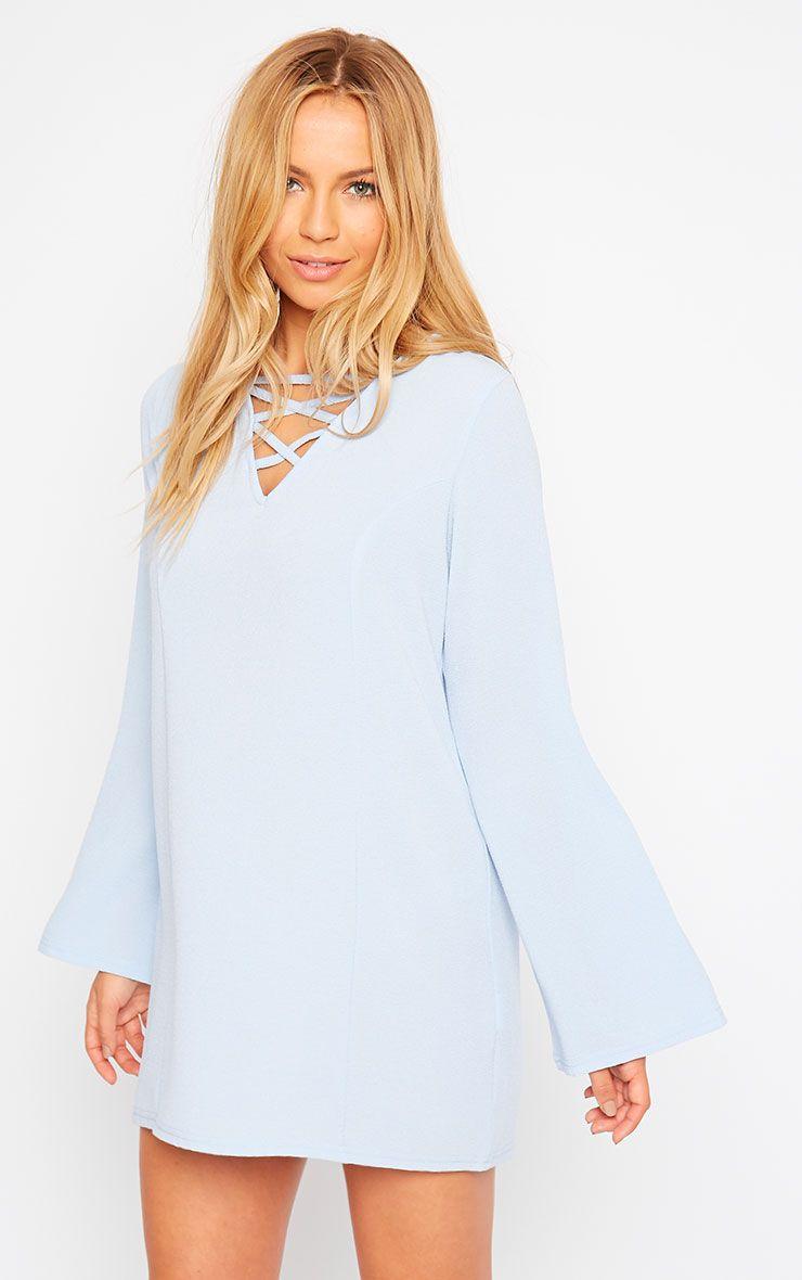 Liz Powder Blue Cross Front Crepe Loose Fit Swing Dress 1