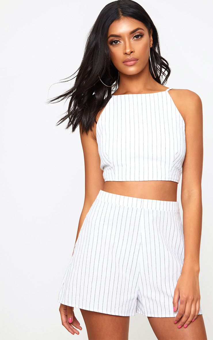 White Stripe Open Tie Back Crop Top