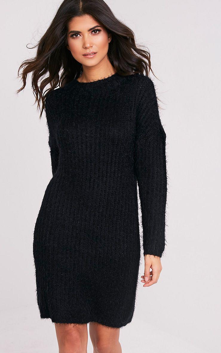 Gordania Black Oversized Mohair Jumper Dress