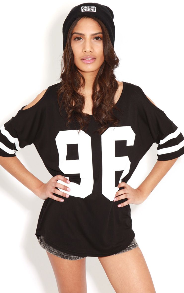 Ryleigh Black 96 Cut Out Shoulder Tee 1