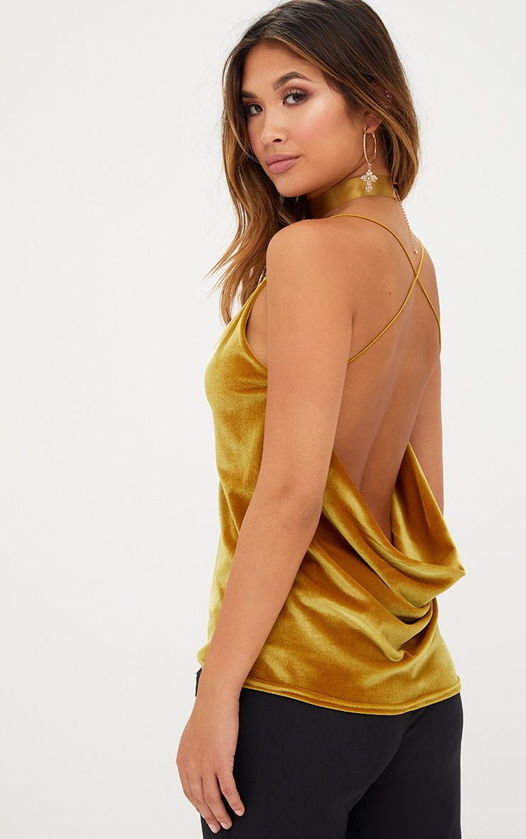 Mustard Velvet Scoop Back Strappy Cami