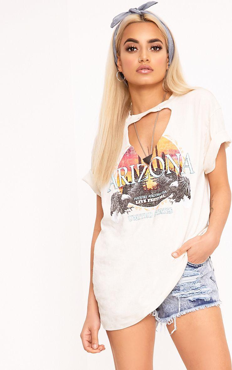 Arizona Off White Slash Neck T Shirt