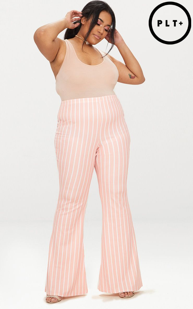 plus pink striped flared trousers