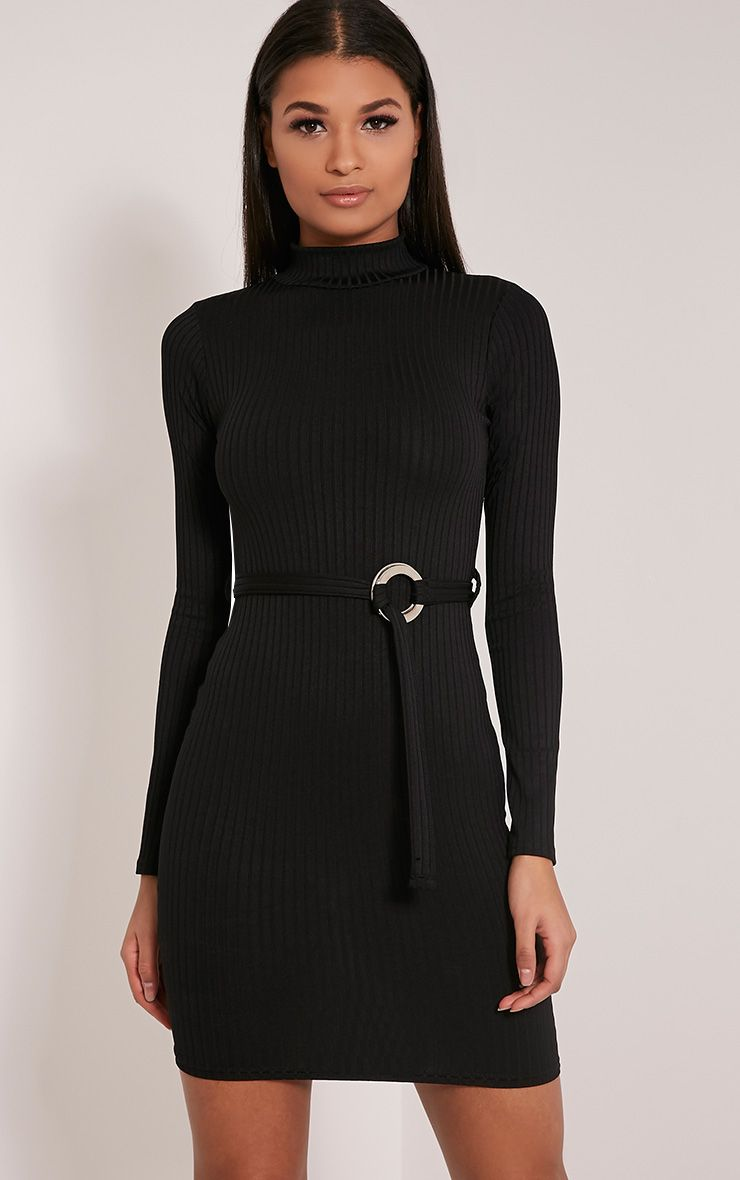 Mya Black Belt Detail Ribbed Bodycon Dress 1