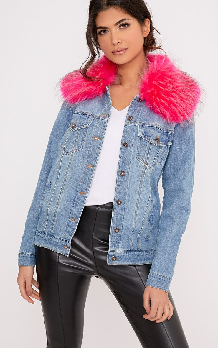 Avanie Bright Pink Faux Fur Collar Oversized Denim Jacket