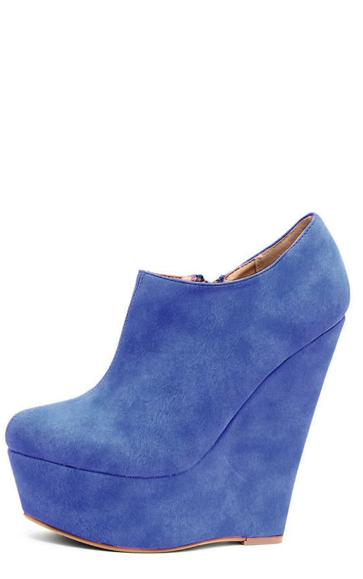 Mae Blue Suedette Wedges 1