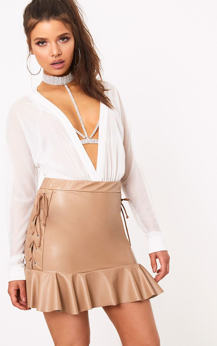 Camel PU Lace Up Frill Hem Mini Skirt